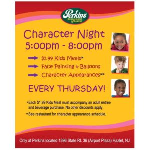 Kids Character Nights at Perkins (Hazlet, NJ) @ Hazlet | New Jersey | United States